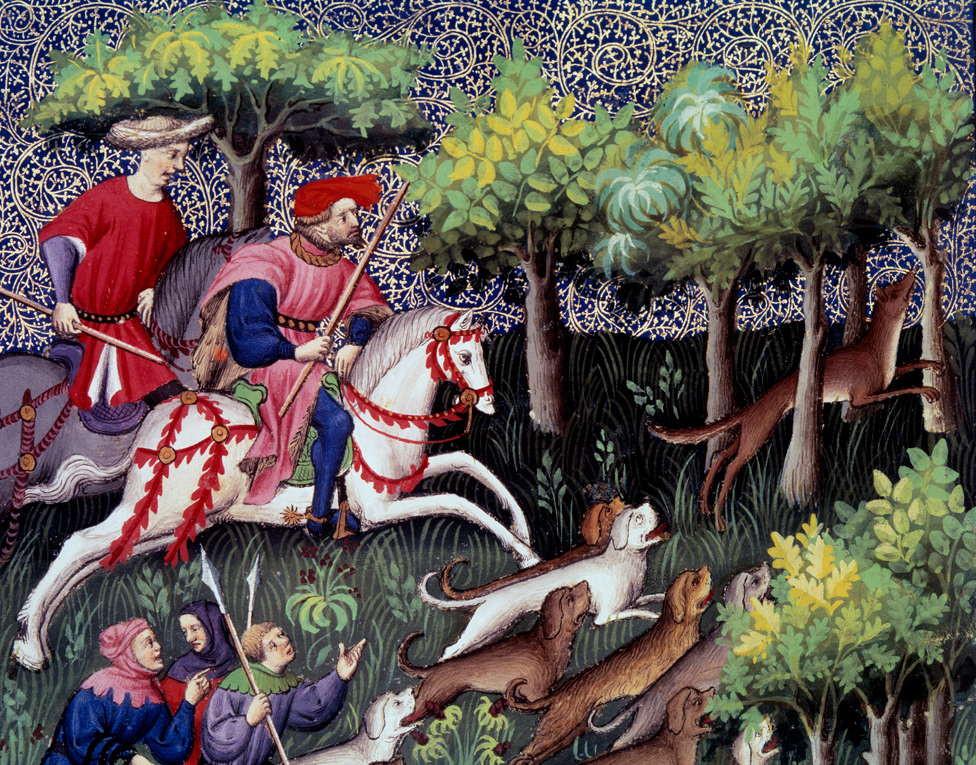 A 14th Century hunting scene in the forest