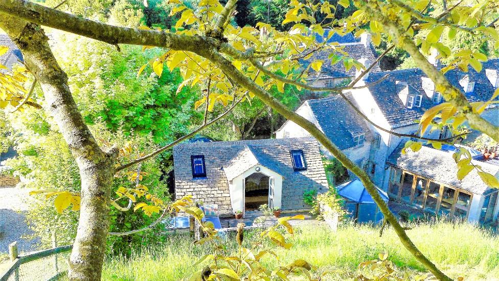 Downward view onto Caroline Mann's rental property