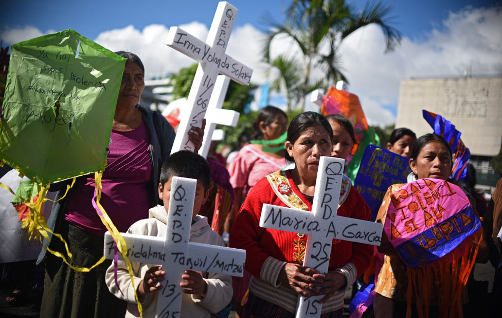 Guatemalan indigenous women take part in a demonstration during commemorations of the International Day for the Elimination of Violence Against Women, in Guatemala City on November 25, 2015