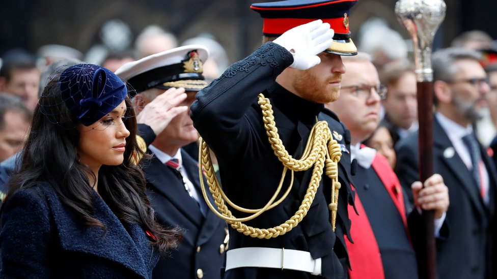 The Duke and Duchess of Sussex in the grounds of Westminster Abbey