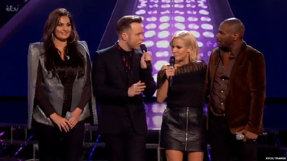(from left to right) Monica Michael, Olly Murs, Caroline Flack and Anton Stephens