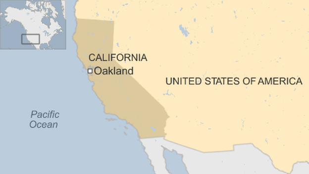 Map of California showing Oakland