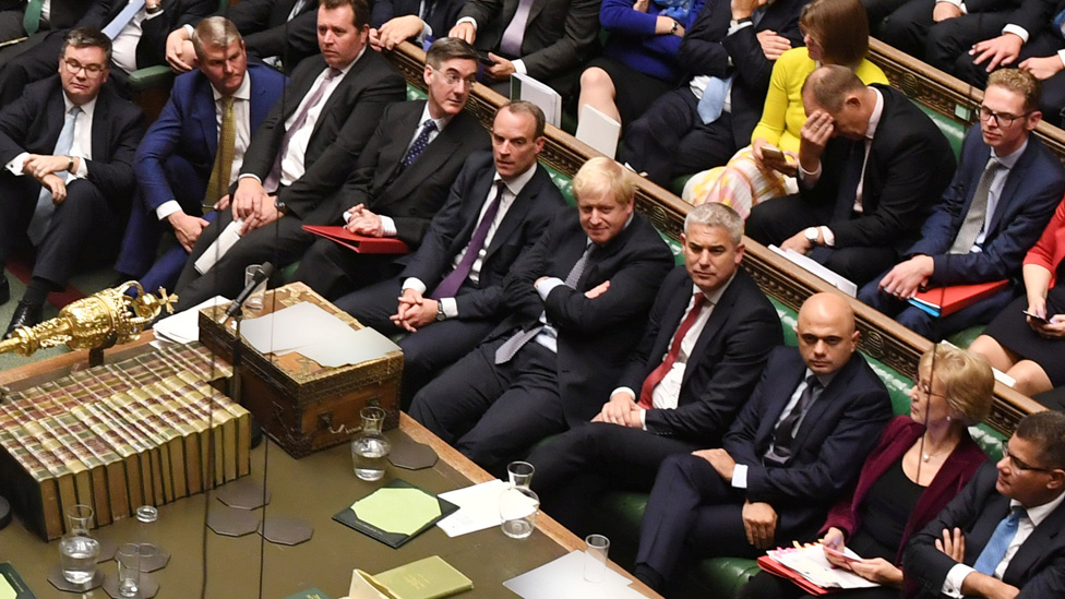 The Conservative front bench during Saturday's debate