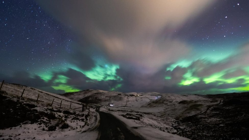 Aurora borealis, Brae in Shetland