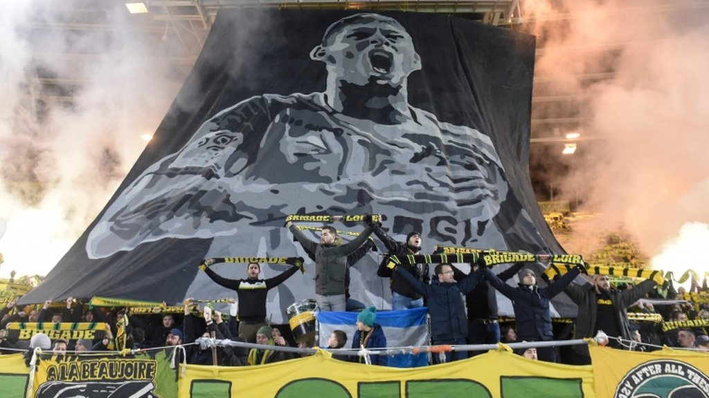 Emiliano Sala: Nantes fined after fans set off flares in striker's tribute