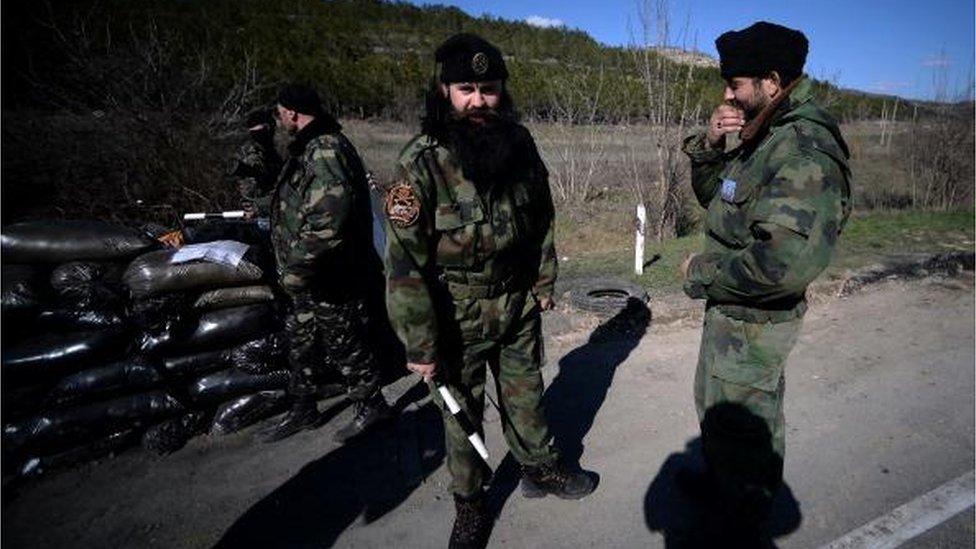 Братислав Живкович на блокпосту між Севастополем та Сімферополем у березні 2014 року