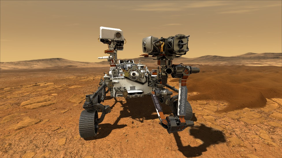 Ilustración de Perseverance sobre la superficie de Marte