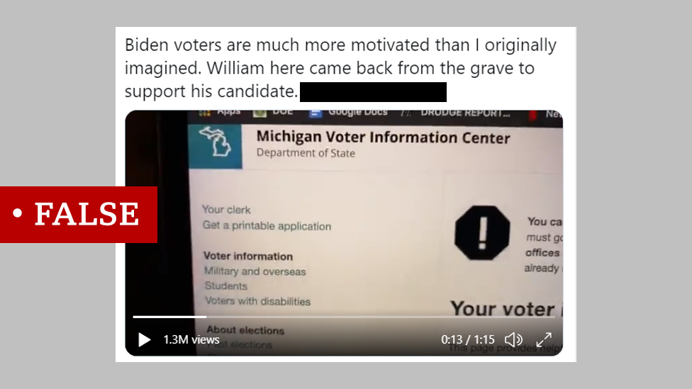"""Screenshot of a tweet that says """"Biden voters are much more motivated than I originally imagined. William here came back from the grave to support his candidate."""" We added a """"false"""" label."""
