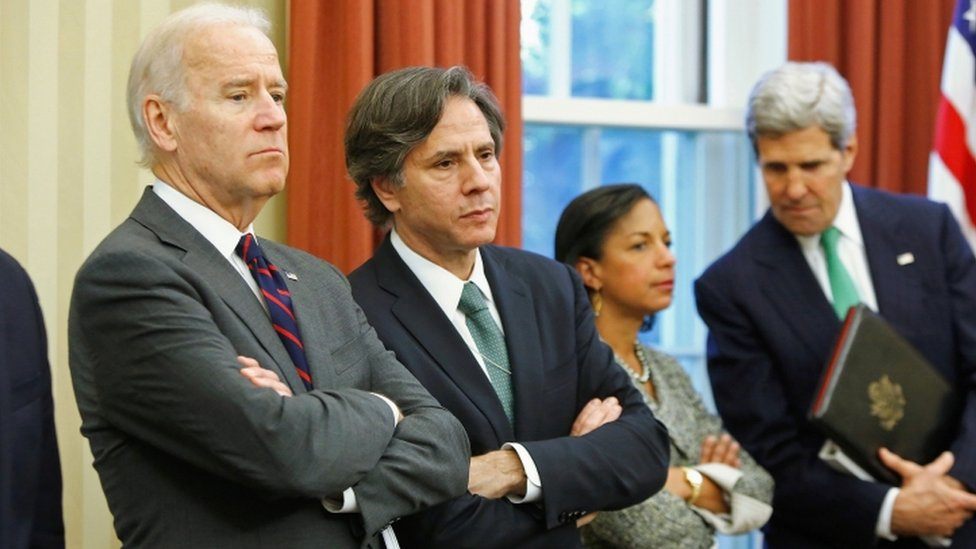 Joe Biden, Anthony Blinken, Susan Rice y John Kerry en 2013
