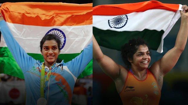 India's medallists P V Sindhu and Sakshi Malik