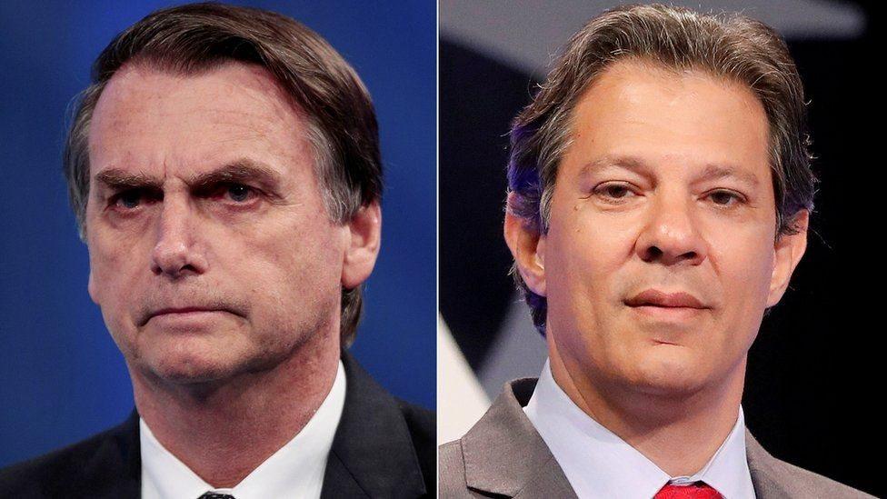 Bolsonaro (izq) y Haddad (der)