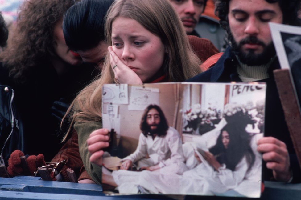 Lennon mourners
