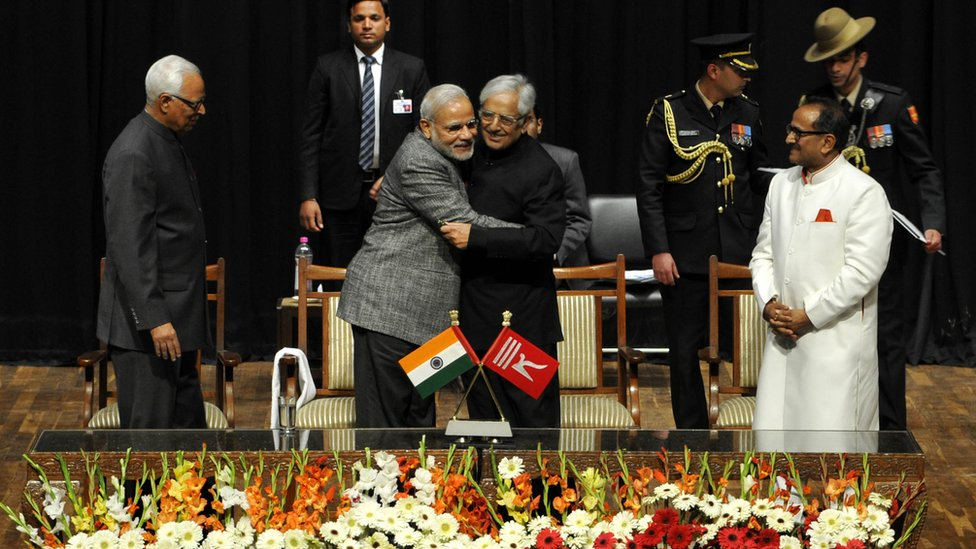Prime Minister Narendra Modi with Mufti Mohammed Sayeed at his swearing-in ceremony in Jammu in 2015