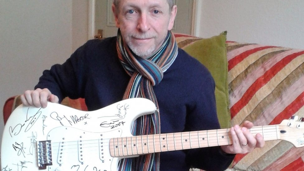 Guitar signed by rock stars sold after being 'lost' for 10 years
