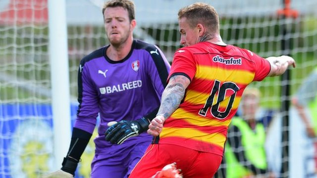 Adam Collin in action for Rotherham against Partick Thistle