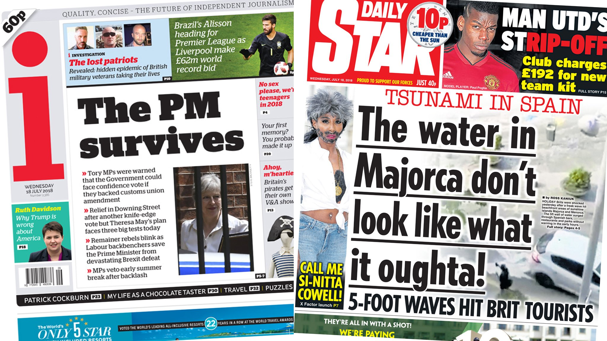 The Papers: PM's survival and a Spanish 'tsunami'