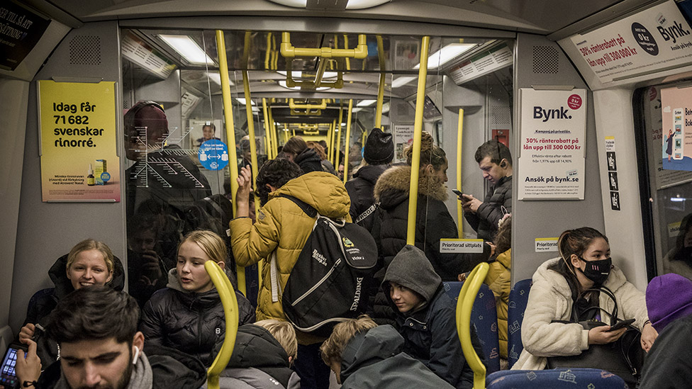 Packed underground train during Covid-19 outbreak