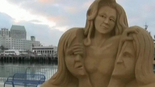 Sand Sculpture in San Diego showing transgender athlete Caitlyn, formerly Bruce, Jenner