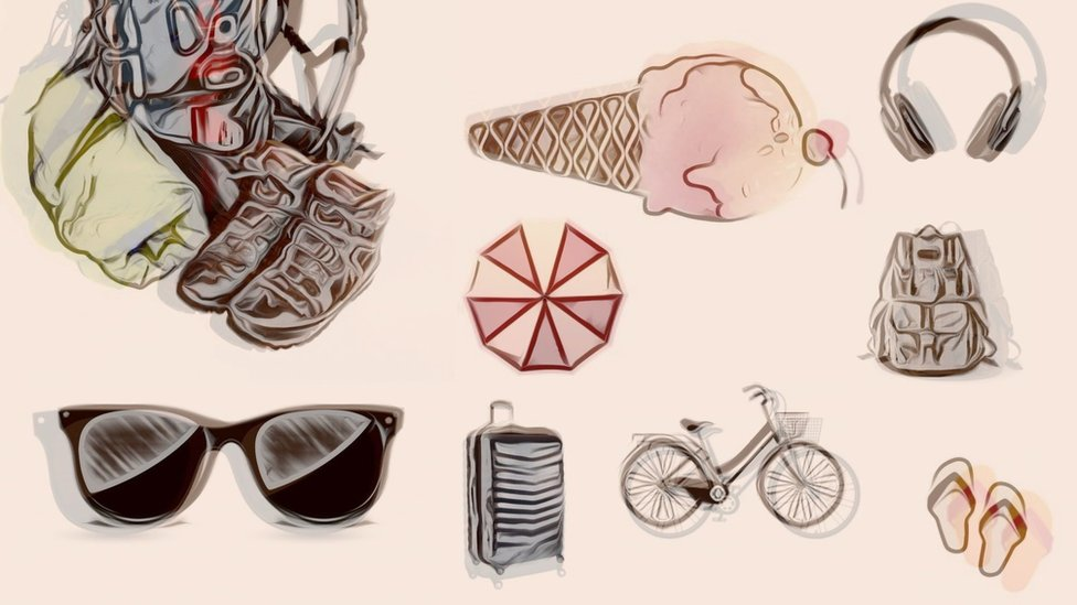 Illustrations of holiday accessories like sunglasses, flip-flops and icecream