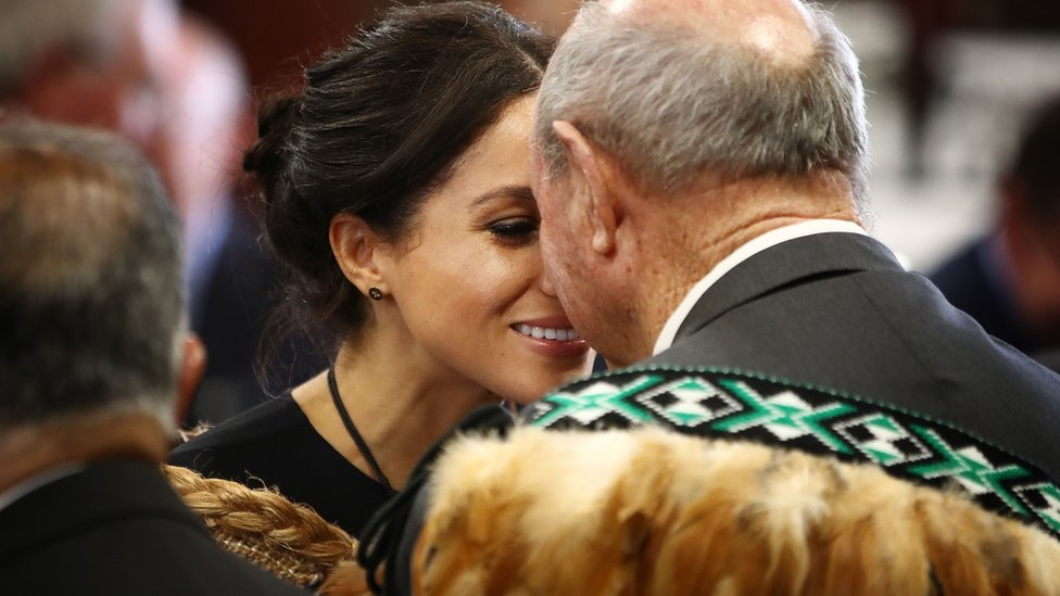 """Meghan, Duchess of Sussex receives a """"hongi"""", or traditional Maori greeting on a visit to Te Papaiouru marae in Rotorua on October 31, 2018"""