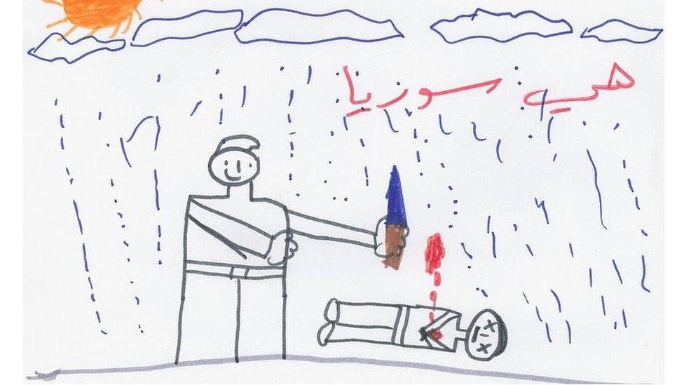 Un dibujo de un niño refugiado sirio muestra a un adulto de pie y al lado hay un cadáver.