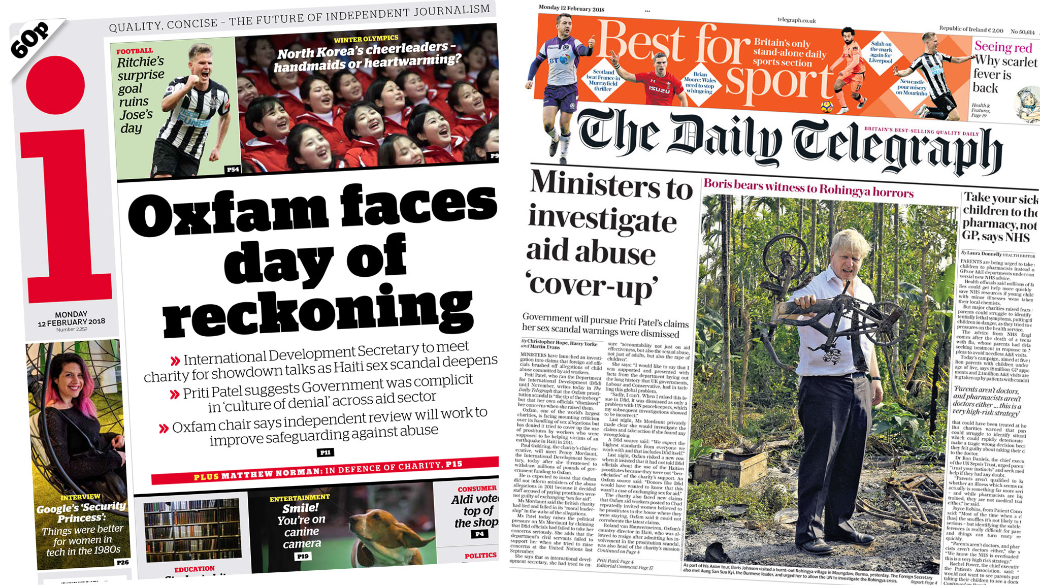 The i and the Daily Telegraph front pages