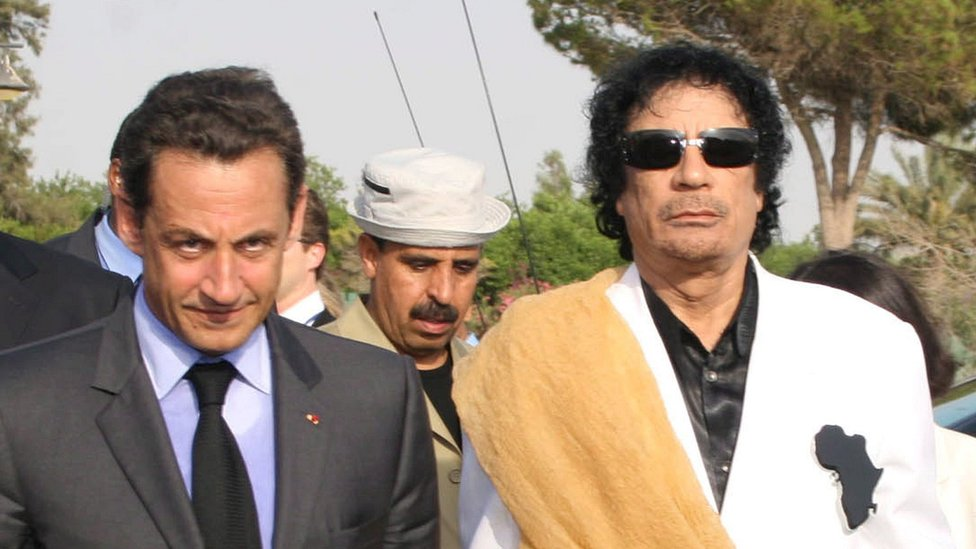 Ex-French President Nicolas Sarkozy (L) with Gaddafi in Libya in Tripoli, 25 Jul 2007