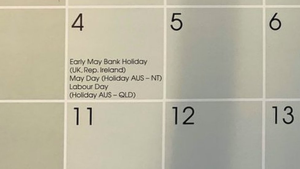 One million calendars 'wrong due to bank holiday change'