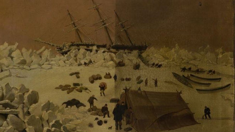 Demineralised water was used to clean a thick layer of sooty dust and dirt from the front of 'Hull Whaleship Diana Beset With Ice' , painted in around 1868 by an unknown artist