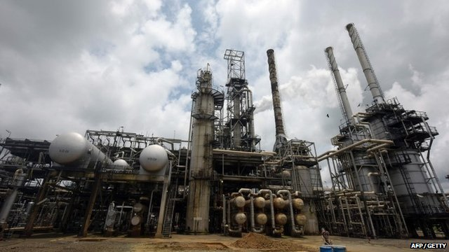 This file photo taken on September 16, 2015 shows the Port Harcourt refinery