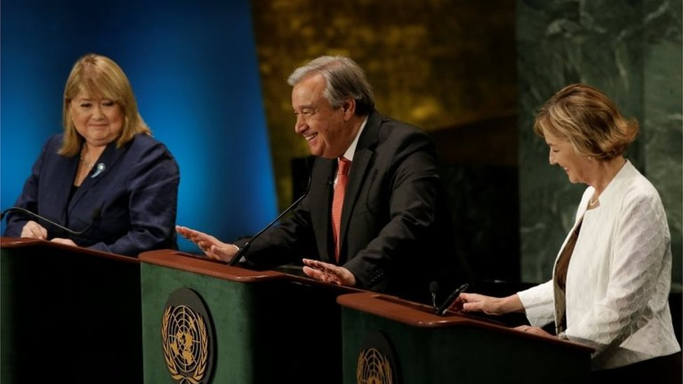 Former U.N. High Commissioner for Refugees Antonio Guterres speaks during a debate in the United Nations General Assembly between candidates vying to be the next U.N. Secretary General at U.N. headquarters in Manhattan, New York, U.S., on 12 July 2016.