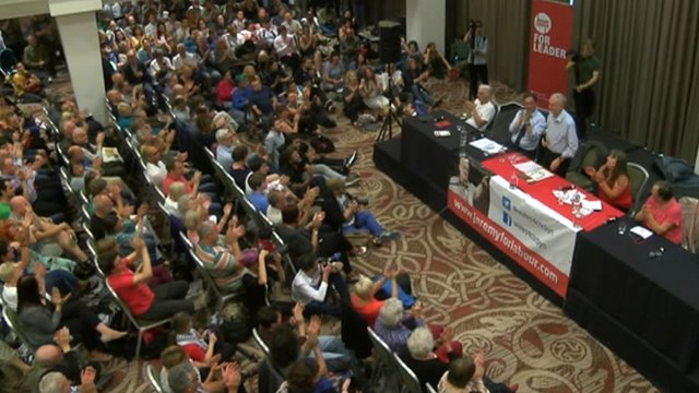 Jeremy Corbyn addresses a rally in Cardiff