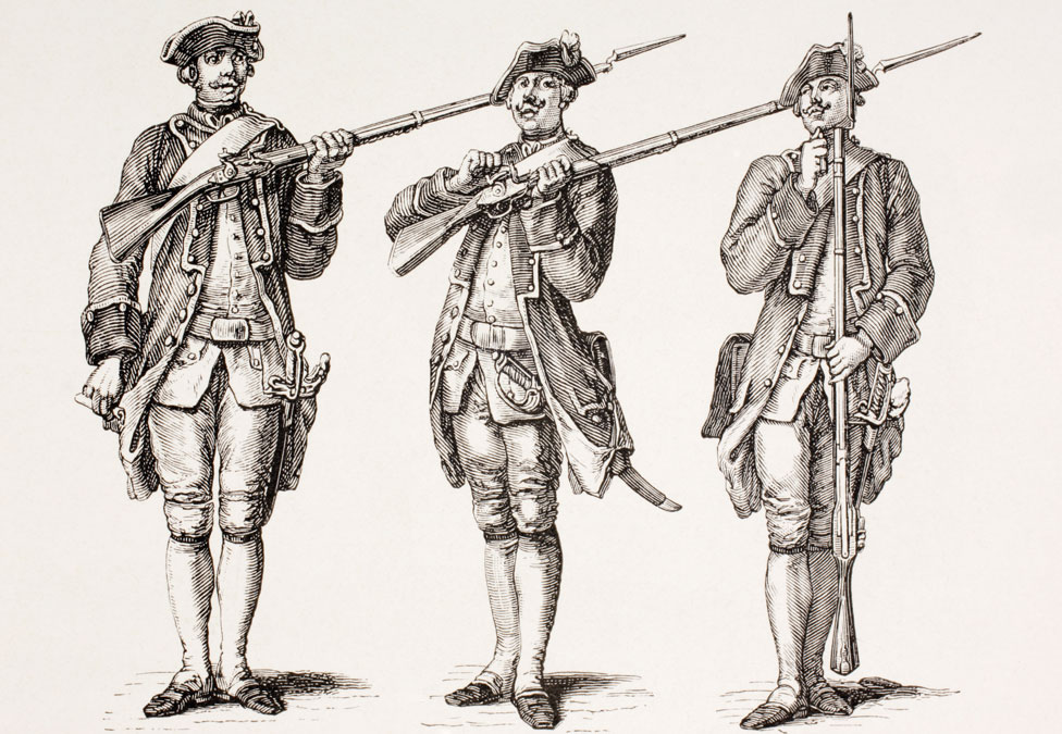 "Illustration entitled ""How To Charge A Musket"" from A French Instruction Book Of 1776"
