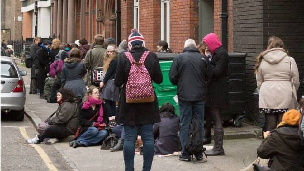 Queue outside Drill Hall