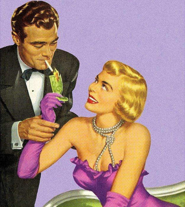 Mujer elegante encendiendo el cigarrillo de un hombre con un billete