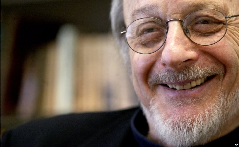 American author E.L. Doctorow smiles during an interview in his office at New York University in New York. 27 April 2014