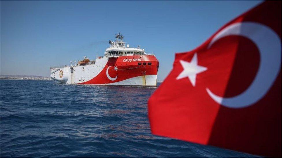 سفينة استكشاف تركية قبالة أنطاليا، تركيا، 22 يوليو/تموز 2020