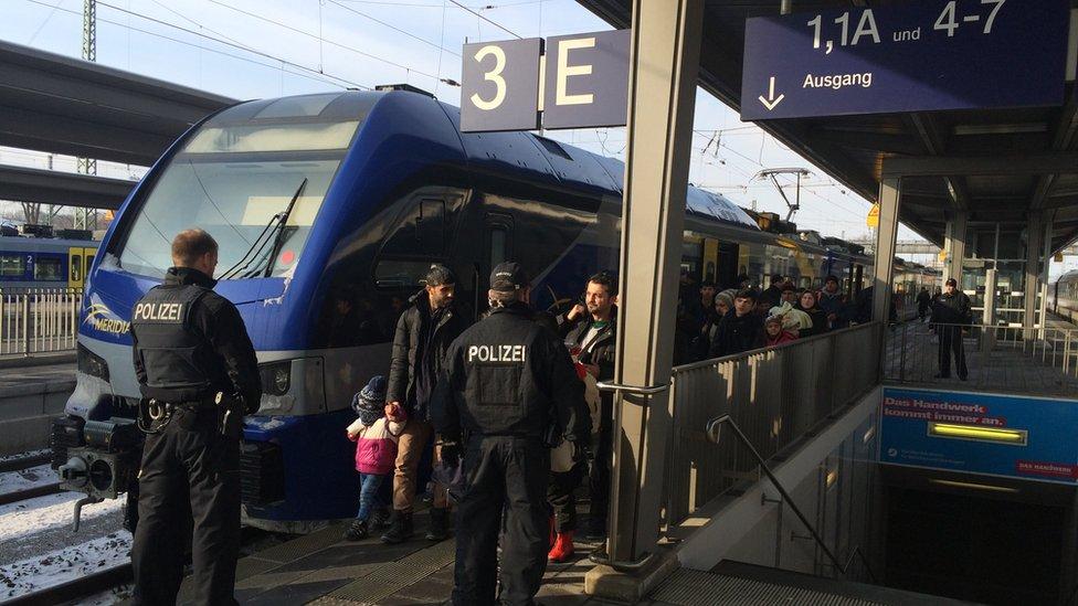 Refugees arriving at Rosenheim station in January