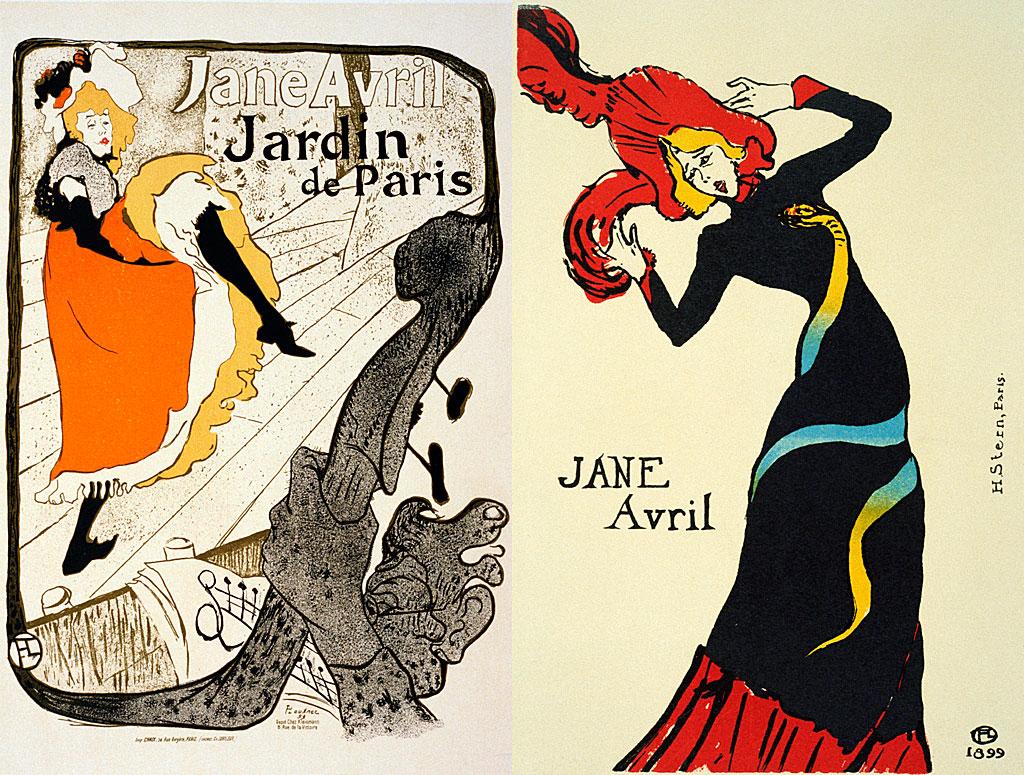 Dos de los posters diseñados por Henri de Toulouse-Lautrec