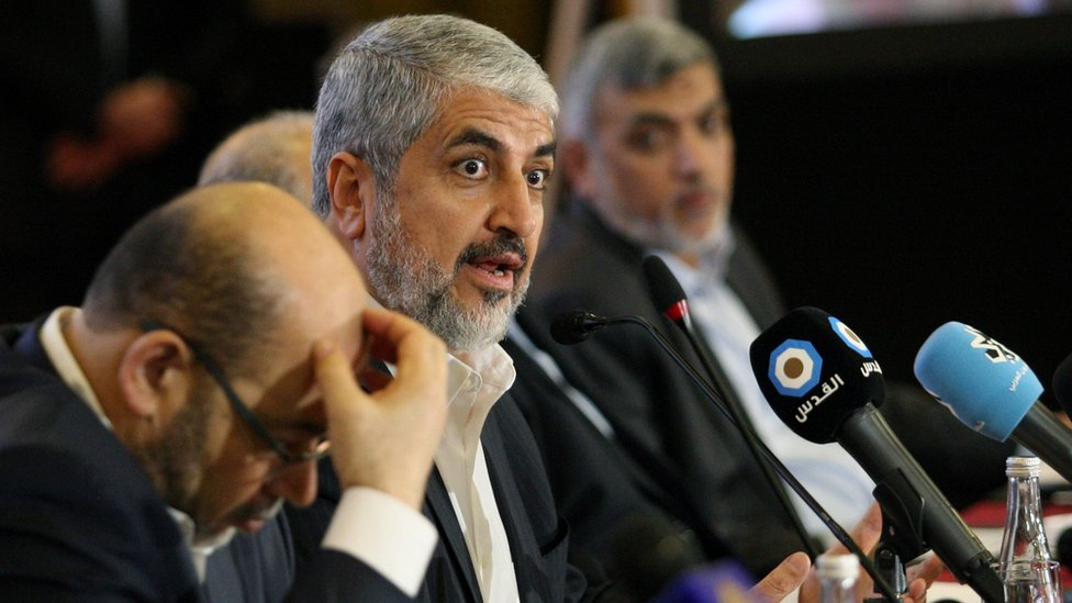 Hamas leader Khaled Meshaal gestures as he announces a new policy document in Doha, Qatar, May 1, 2017.