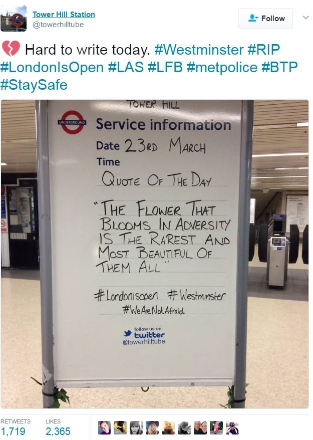 Screen grab of tweet by @towerhilltube