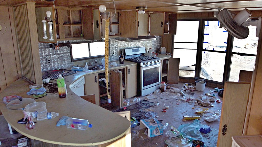 Police raids left many trailer homes abandoned at various cannabis farms in Shiprock, New Mexico