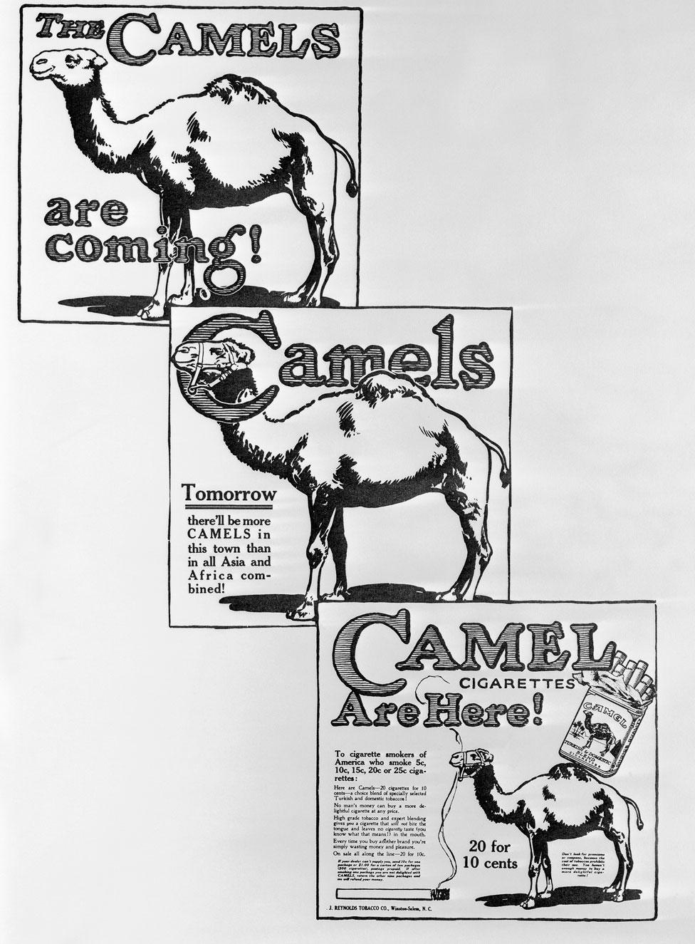 La serie de propagandas anunciando la llegada de los cigarrillos Camel.