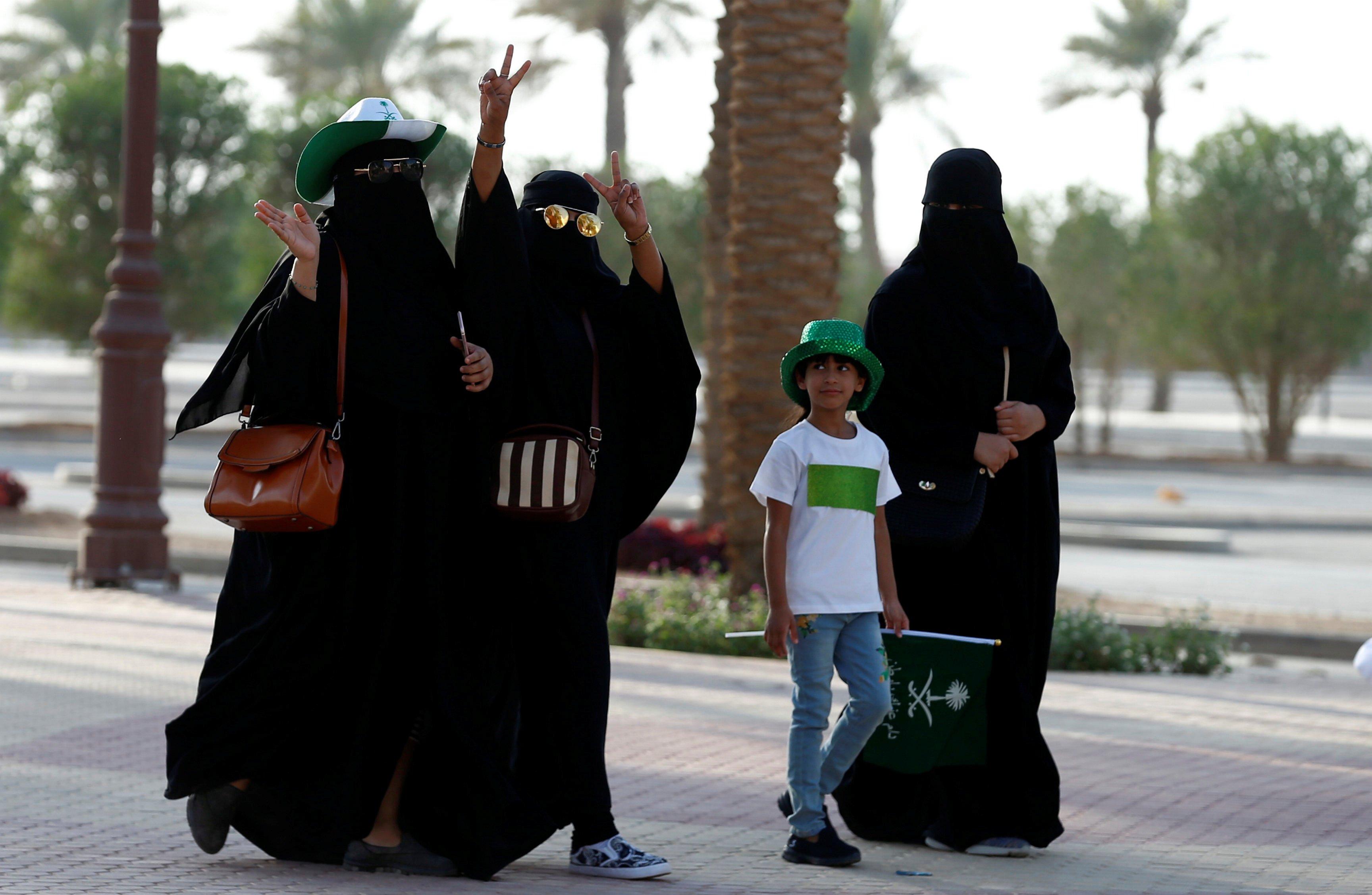 Saudi Arabia women arrive to a rally to celebrate the 87th annual National Day of Saudi Arabia in Riyadh, Saudi Arabia, 23 September 2017