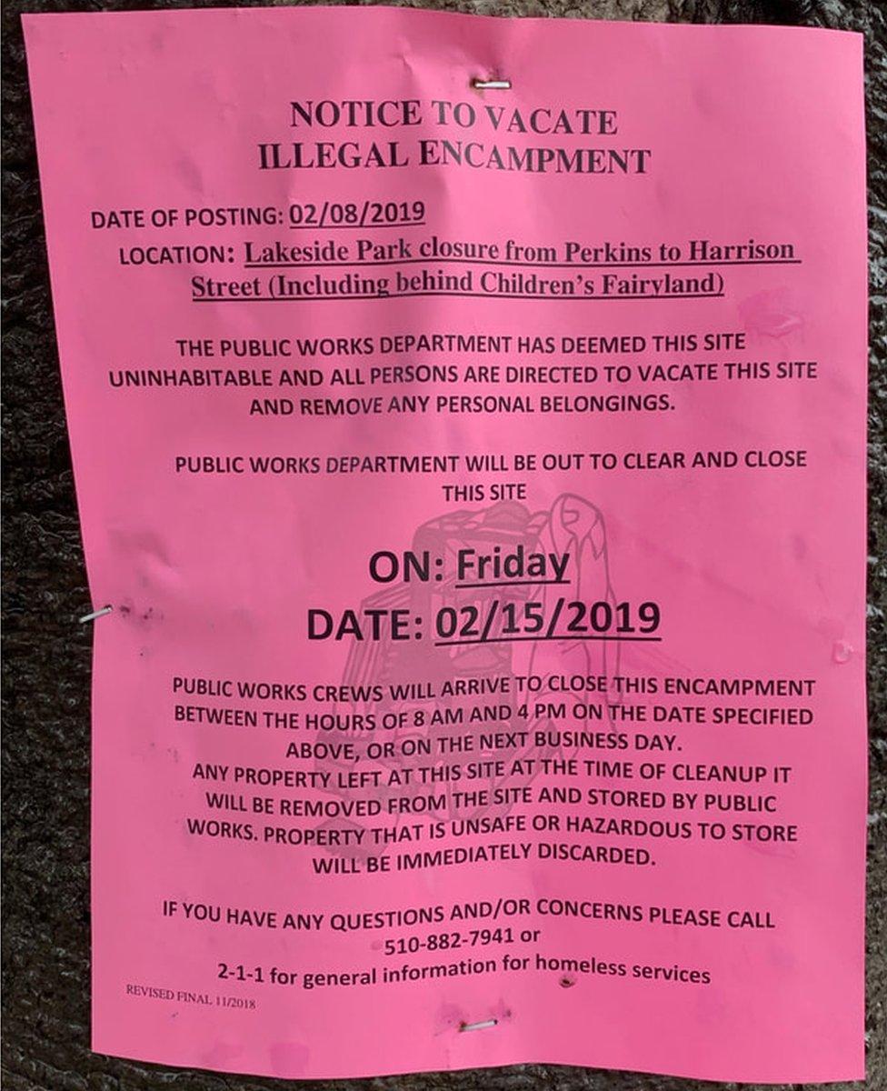 Lake Merritt encampments notice of closure