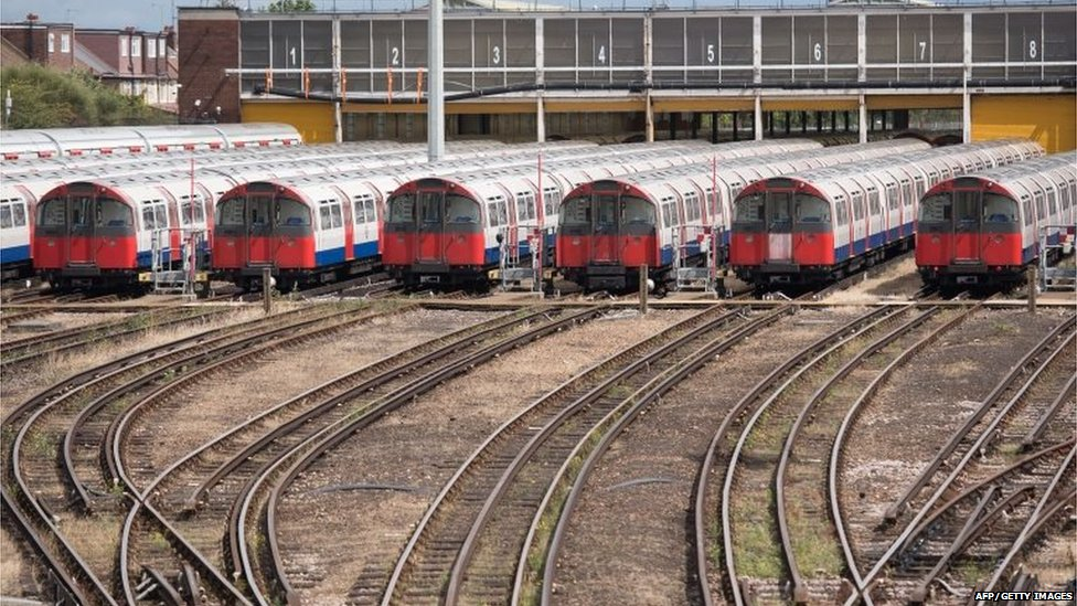 London Underground Piccadilly Line tube trains are parked at the Northfields Depot in west London