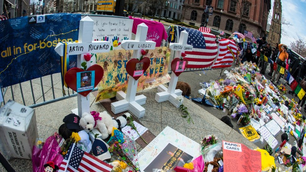 Memorial to people who died in Boston bomb attack