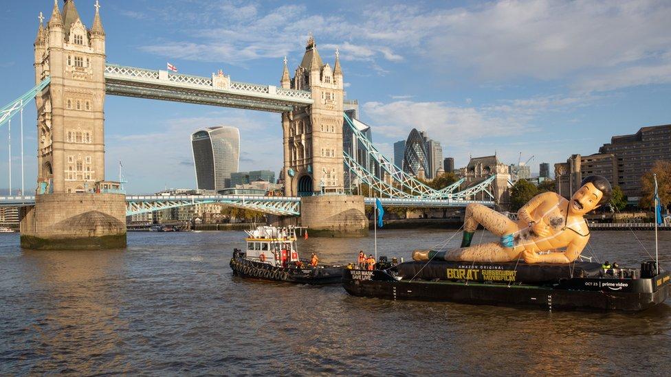Borat on The River Thames
