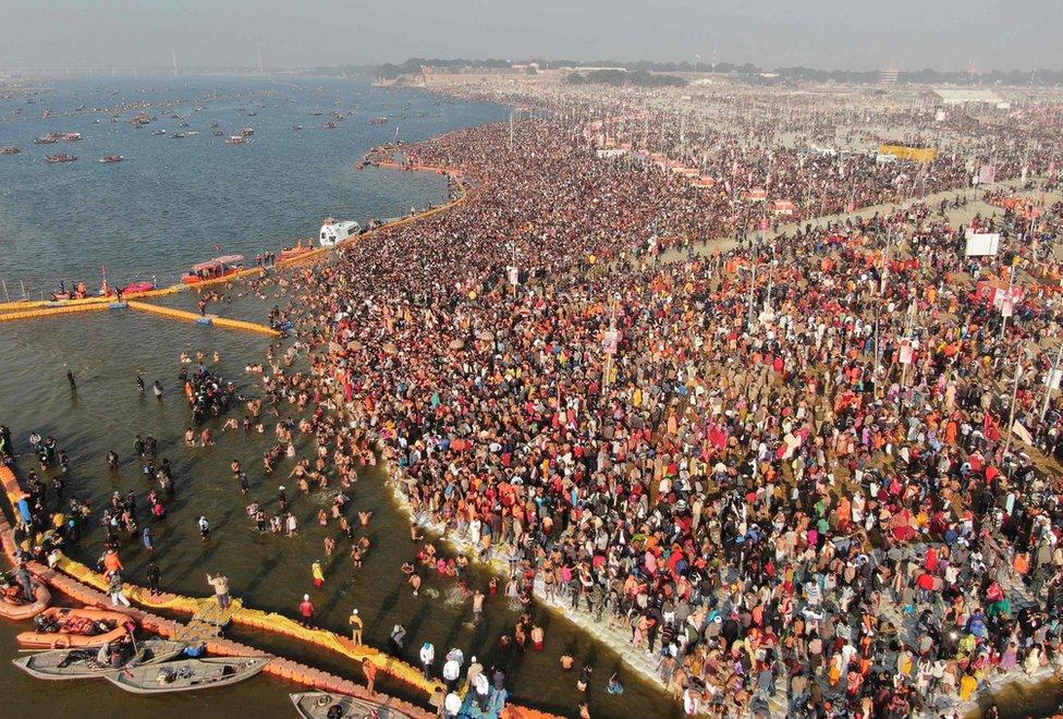 crowds at Sangam