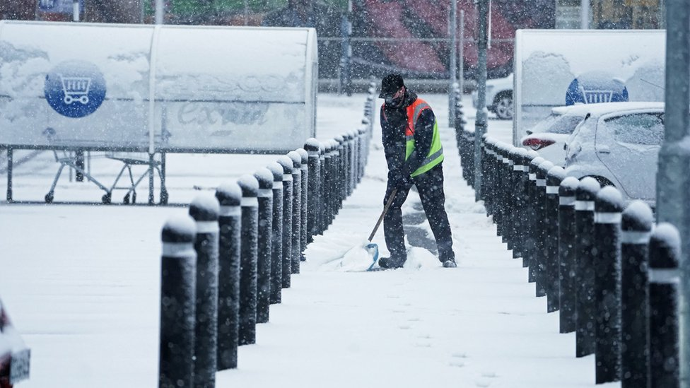 In nearby Hexham in Northumberland a Tesco staff member battled the elements